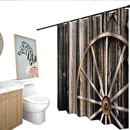 Barn Wood Wagon Wheel Flower Shower Curtain Wooden Door And Vintage Rusty Rustic Home