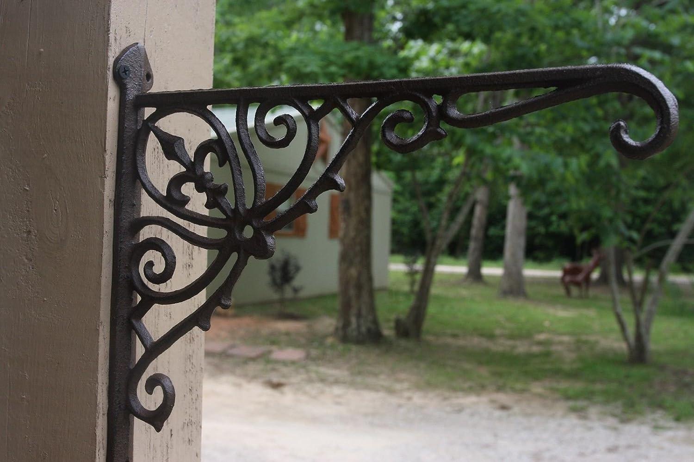 """NEW Cast Iron Plant Hanger Hook Bracket Fleur De Lis Black Patina 10/"""" H x 12/"""" L"""