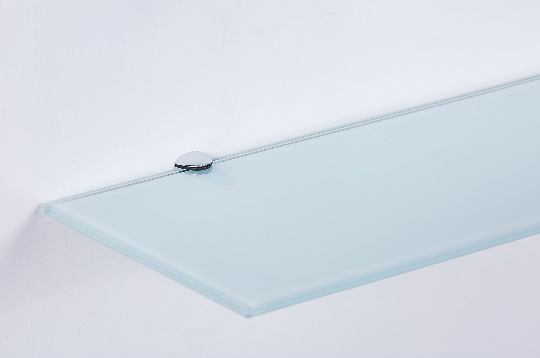 Euro Tische D/&S Vertriebs GmbH /Étag/ère Murale en Verre de s/écurit/é avec Support Blanc 6 mm