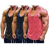 Muscle Cmdr Men's Bodybuilding Stringer Tank Tops Y-Back Gym Fitness T-Shirts