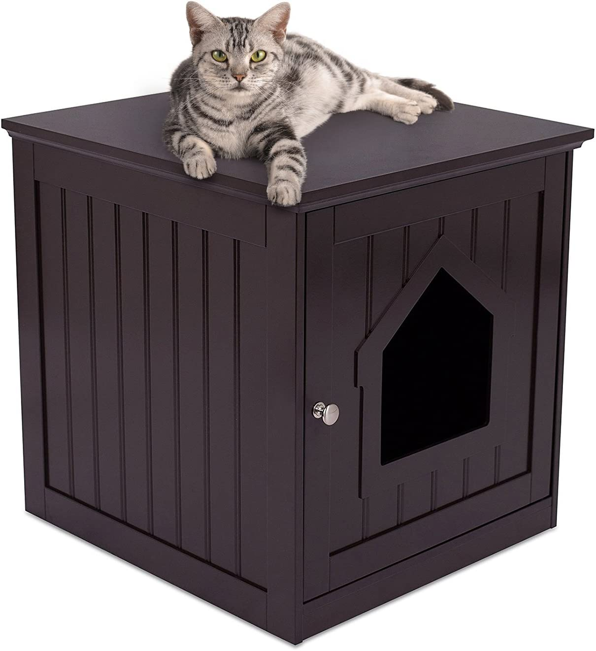 BIRDROCK HOME Decorative Cat House & Side Table - Cat Home Nightstand - Indoor Pet Crate - Litter Box Enclosure - Hooded Hidden Pet Box - Cats Furniture Cabinet - Kitty Washroom