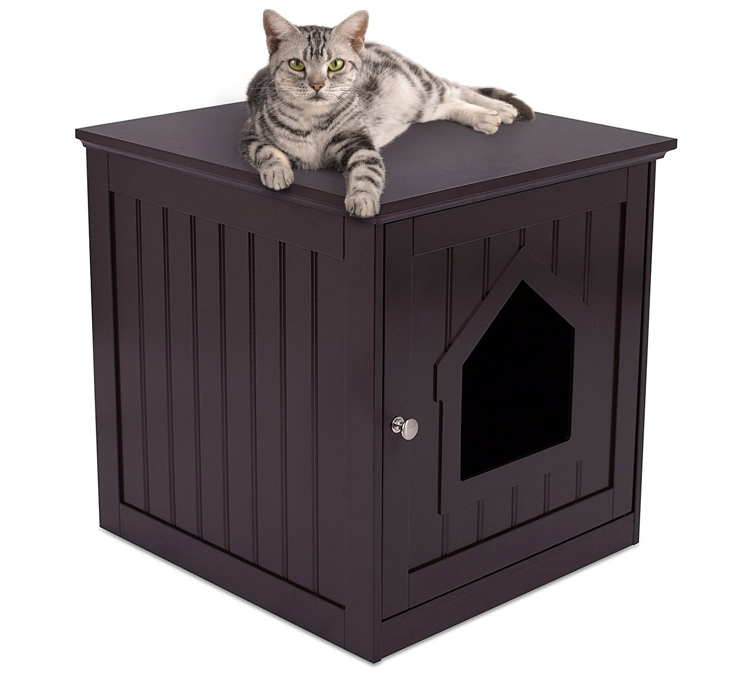 Internet's Best Decorative Cat House & Side Table - Cat Home Nightstand - Indoor Pet Crate - Litter Box Enclosure (Espresso) by Internet's Best