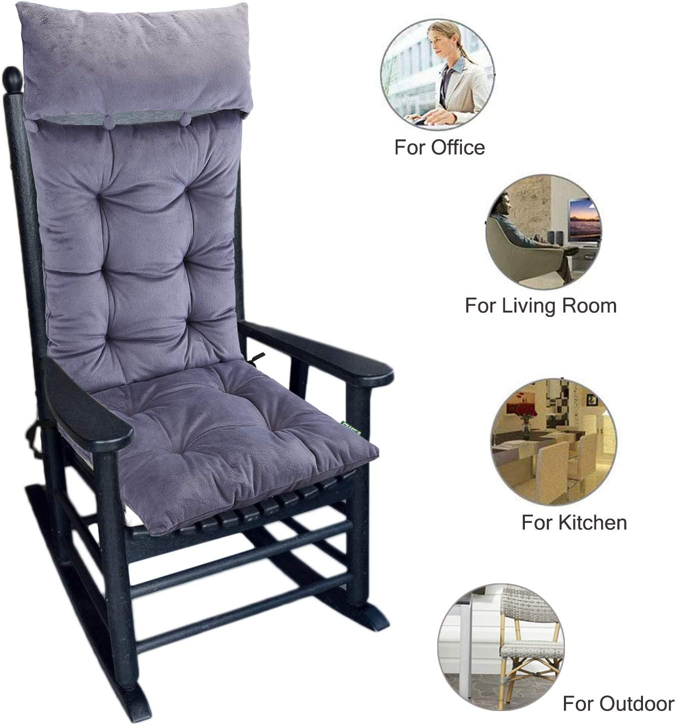 Upholstery for Rocking Chair Upholstered Seat Cushion High-Back Cushion Long Armchair Headrest Replacement Cushion with Straps Lounger Chair Garden Lounge Mat,48 125cm