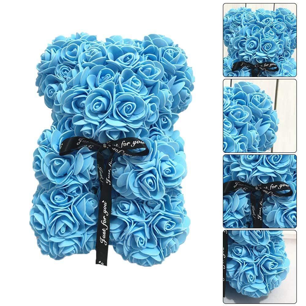 Oso de Peluche Rosa 25 cm para Siempre Flores Artificiales San Valent/ín Aniversario de Bodas Cumplea/ños Obsequiado Rosa Blanco Azul Rosa Elegante para los Amantes Mujeres Hombres Adolescente Esposa