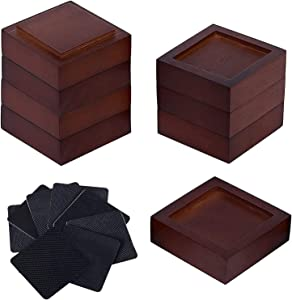 Stahala Bed Risers Wood (Set of 8), Solid Natural Wood Furniture Heavy Duty Leg Risers Lifts for Sofas Desk Chair Couches with Non-Slip Rubber Pad & Non-Slip Recessed Hole.
