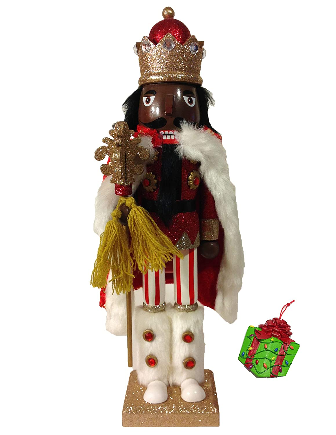 Distinctive Designs African American Winter King Large Unique Decorative Holiday Season Wooden Christmas Nutcracker & Bonus Tree Ornament