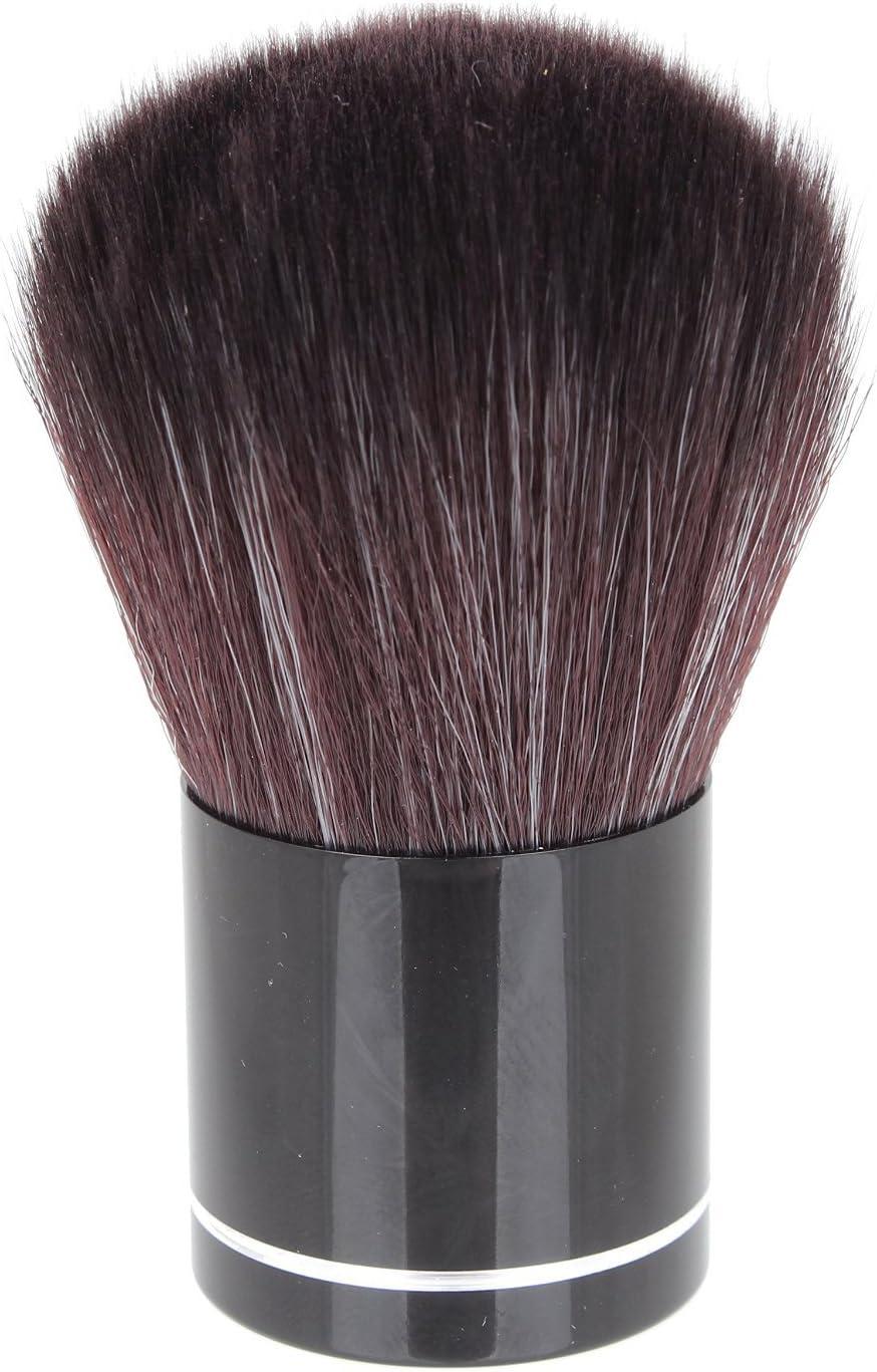 Maquillaje Brocha Kabuki con Mango De Aluminio Y Pelo De Nylon - Bolso De Polipiel Negro by DELIAWINTERFEL: Amazon.es: Belleza