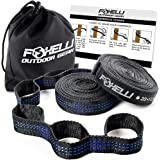 Foxelli Hammock Straps XL – Camping Hammock Tree Straps Set (2 Straps & Carrying Bag), 20 ft Long Combined, 40+2 Loops, 2000