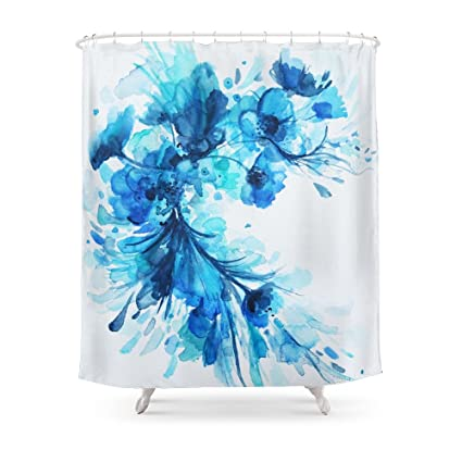 Society6 Blue Watercolor Floral Shower Curtain 71quot