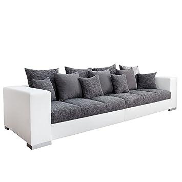 Design Xxl Sofa Big Sofa Island In Weiss Grau Charcoal Strukturstoff