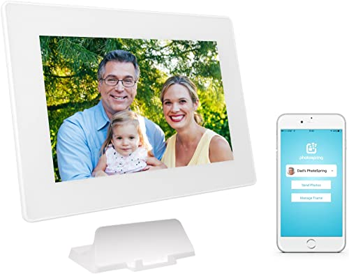 PhotoSpring 16GB 10-inch WiFi Cloud Digital Picture Frame – Battery, Touch-Screen, Plays Video and Photo Slideshows, HD IPS Display, iPhone Android app White – 15,000 Photos