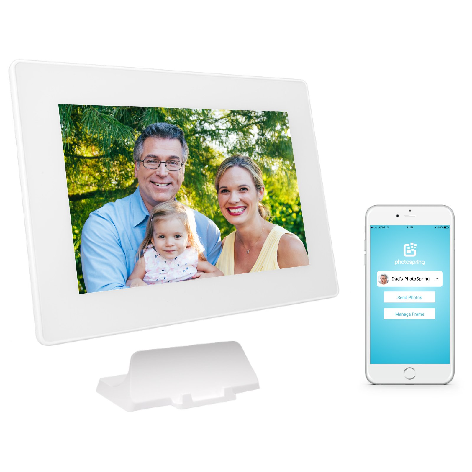 PhotoSpring (16GB) 10-inch WiFi Cloud Digital Picture Frame - Battery, Touch-Screen, Plays Video and Photo Slideshows, HD IPS Display, iPhone & Android app (White - 15,000 Photos) by PhotoSpring