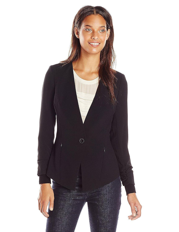Adrianna Papell Women's Button Jacket with ITH Sweater Trim Black 10 [並行輸入品] B075CJ2LRW