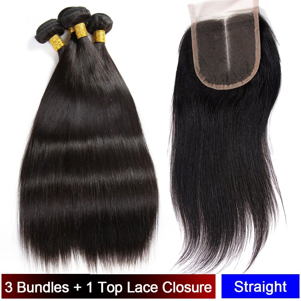 My-Lady® Tissage Bresilien en Lot - Extensions Capillaires de Cheveux Humains Naturels Vierges Raide Noir Naturel - 3 Tissages + 1 Top Lace Closure (101214+10lace closure)