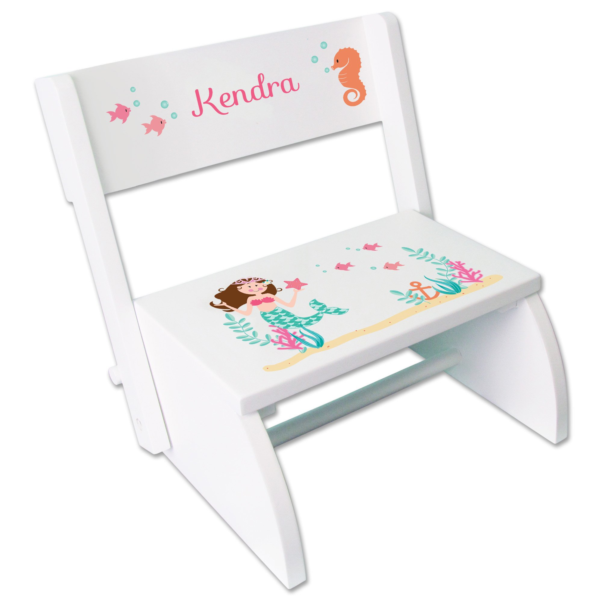 Personalized Brunette Mermaid Princess Childrens and Toddlers White folding stool