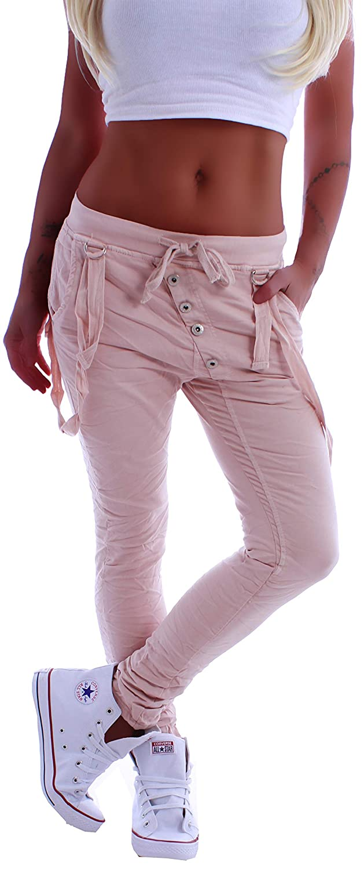 Style Station Damen Boyfriend Jeans Boyfriendcut Hose Baggy Haremshose Knopfleiste XS 34 S 36 M 38 L 40 XL 42
