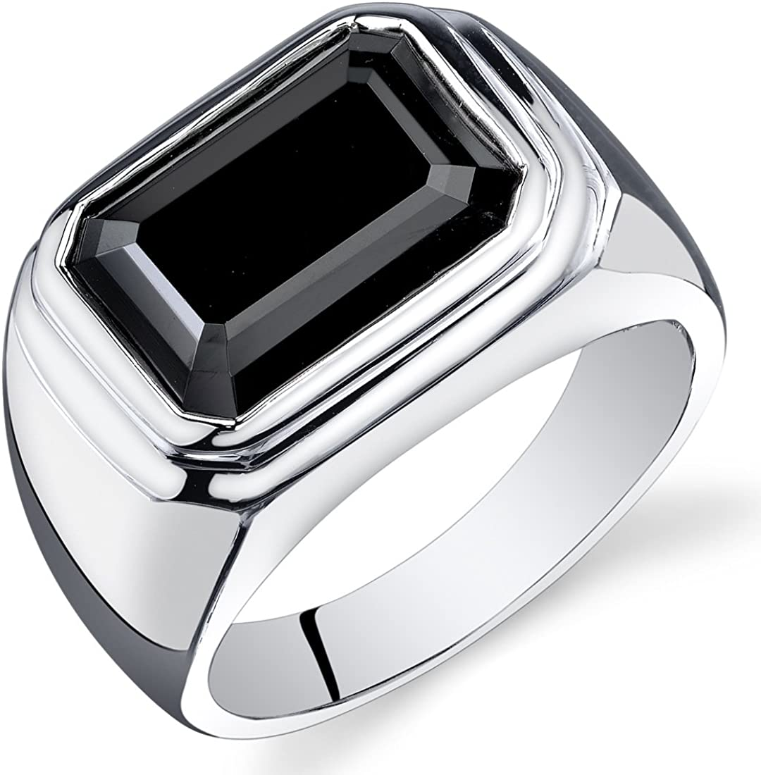Mens 7.00 Carats Black Onyx Octagon Ring Sterling Silver Sizes 8 To 13
