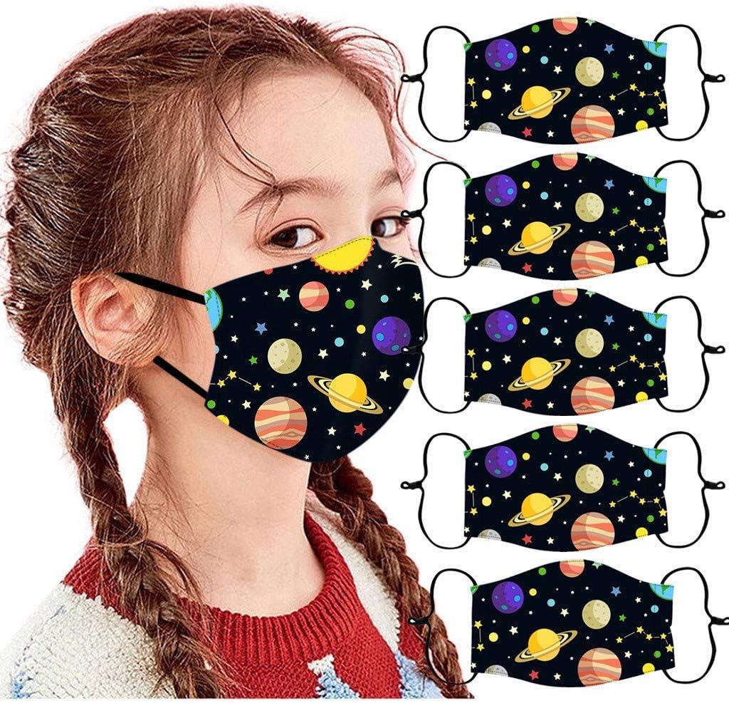 mascarilla reutilizable lavable con bucle de orejas ajustable.mascarilla facial puede poner filtro.Multicolor mascarilla infantil lavable reutilizable mascarilla facial de 5 piezas para ni/ños