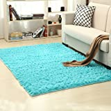 LOCHAS Soft Indoor Modern Area Rugs Fluffy Living Room Carpets Suitable for Children Bedroom Decor Nursery Rugs 4 Feet by 5.3 Feet (Blue)