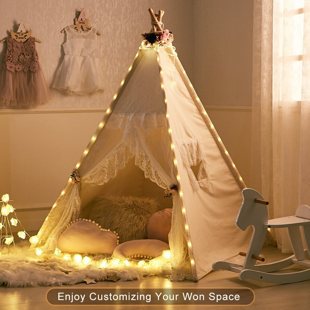 Little Dove Floral Classic Ivory Kids Teepee Kids Play Tent Childrens Play House Tipi Kids Room Decor by little dove (Image #4)