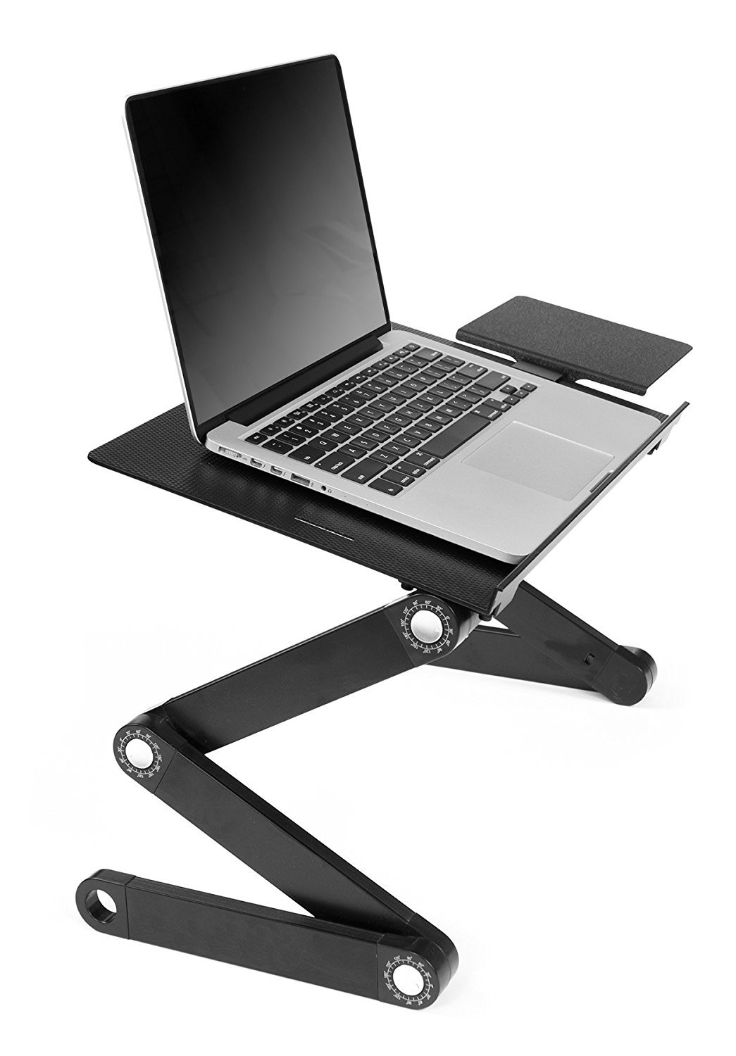 JH-BestCrafts Foldable Adjustable Computer Laptop Desk Stand Table with Mouse Pad Side Mount for Notebook Macbook. Ergonomic Lightweight TV Bed Lap Tray Stand Up / Sitting by JH-Best Crafts (Image #1)