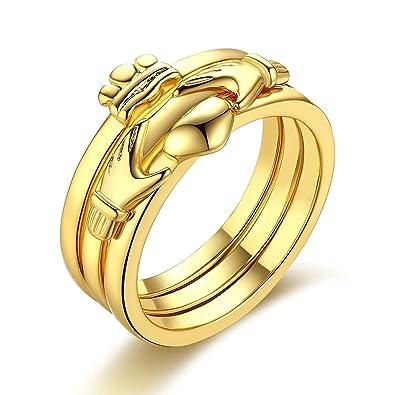 Bishilin Vergoldet Frauen Ring Gold Silber Gladdagh Herz Krone