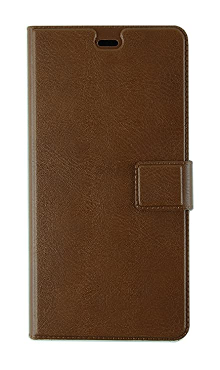 low priced 25b27 a5511 Macc Xiaomi Redmi Note 4 Leather Flip Case Flip Cover with Stand, Magnetic  Lock- Brown