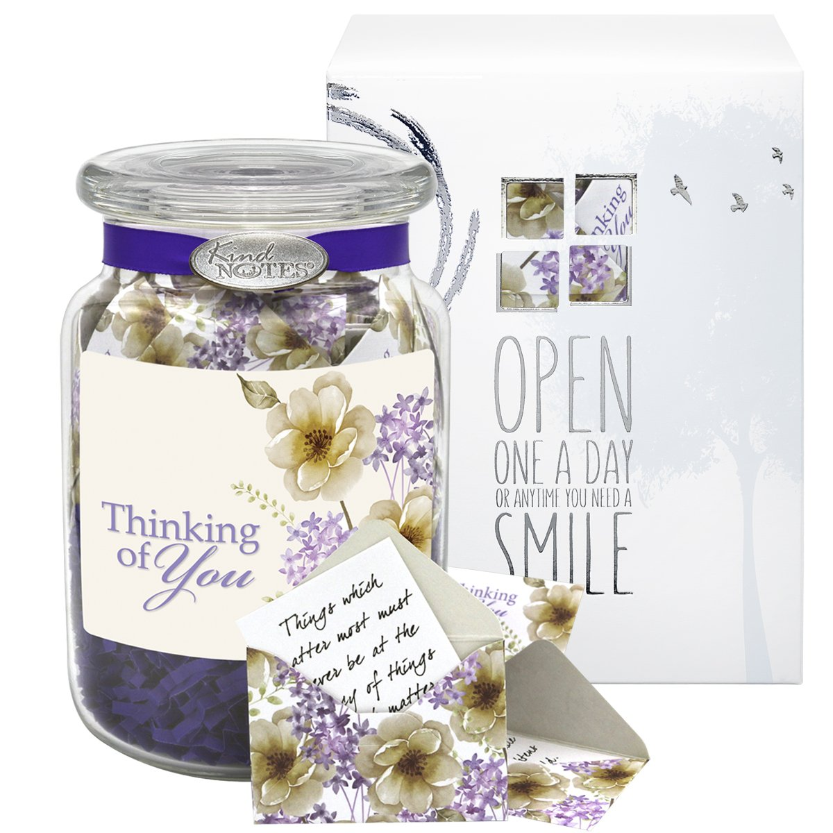 KindNotes Glass LONG DISTANCE RELATIONSHIP Keepsake Gift Jar of Messages for Him or Her Birthday, Anniversary, Just Because - Violet Thinking of You