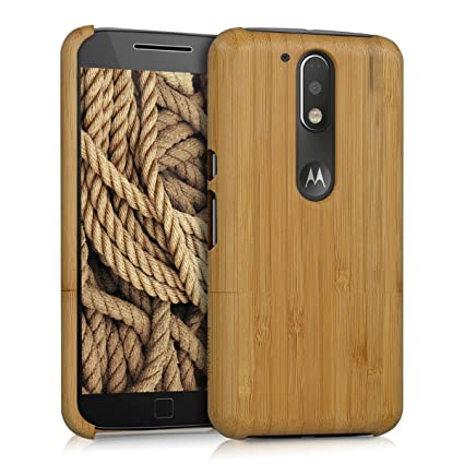 kwmobile Motorola Moto G4 / Moto G4 Plus Bamboo Wood Case - Natural Solid Hard Wooden Protective Cover for Motorola Moto G4 / Moto G4 Plus