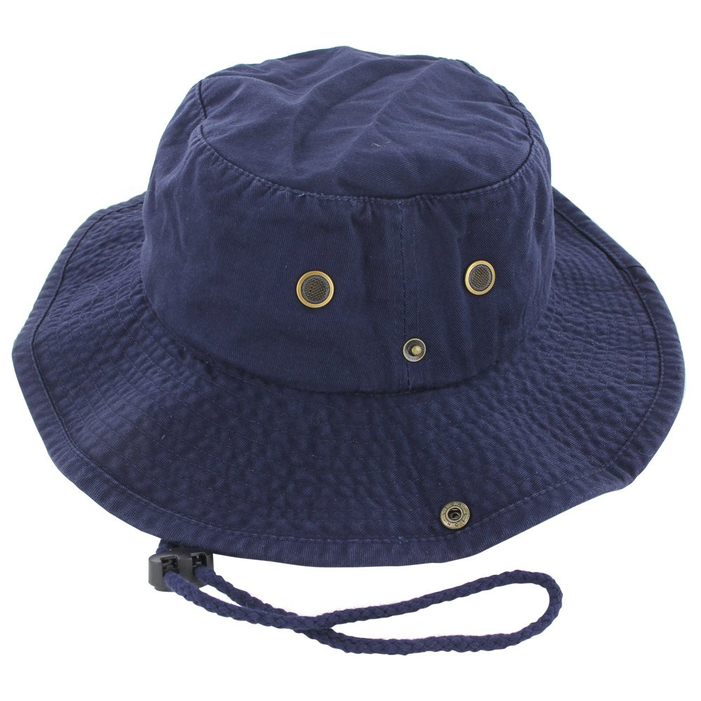 019e0a7bf1d238 Galleon - 100% Cotton Boonie Fishing Bucket Hat With String, Navy, L/XL