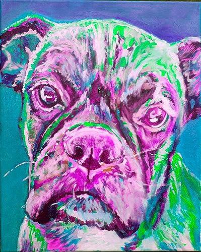 Amazon.com: Pink Green Boxer Dog Wall Art Decor, Colorful Boxer Dog ...
