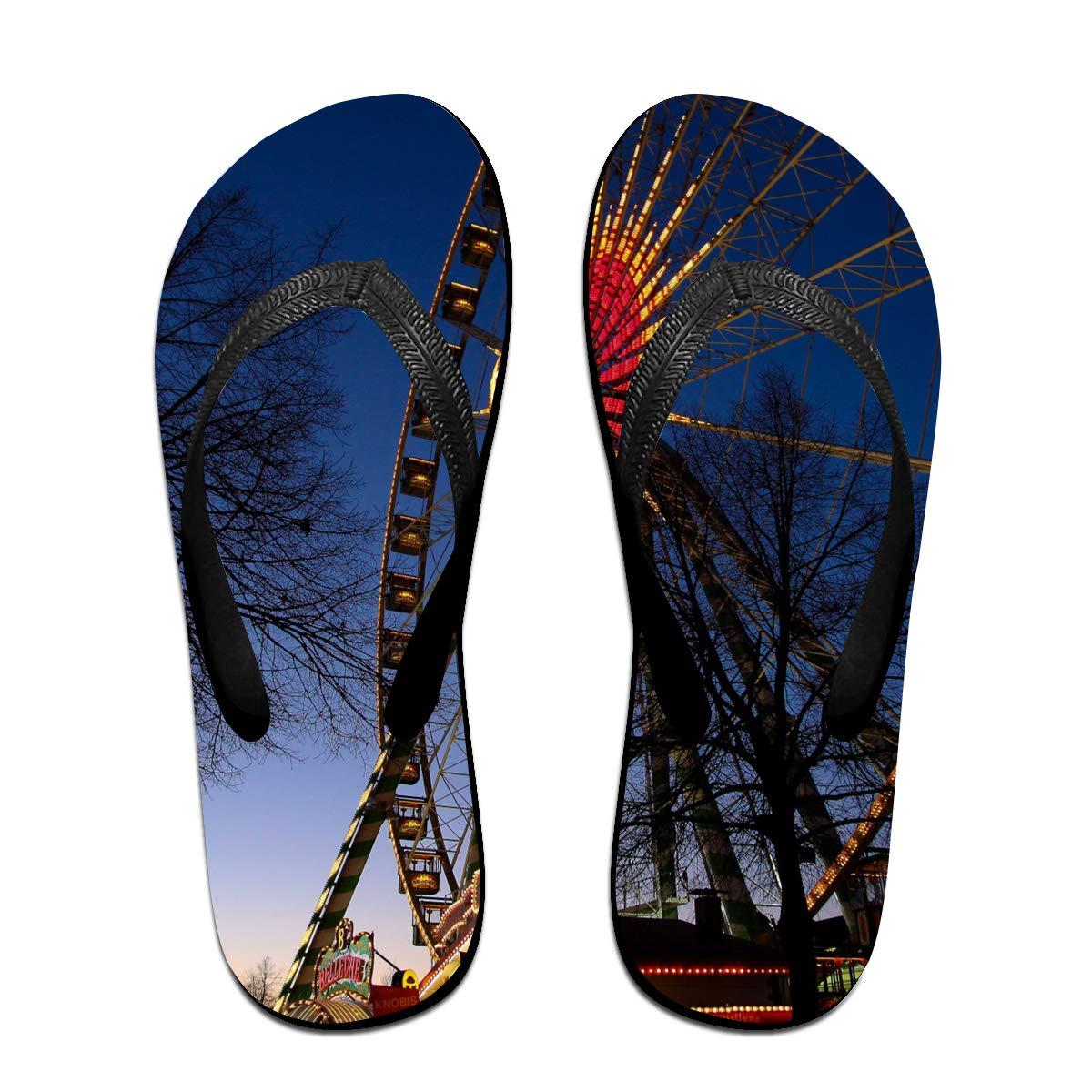 Couple Slipper Ferris Wheel In The Night Print Flip Flops Unisex Chic Sandals Rubber Non-Slip Beach Thong Slippers
