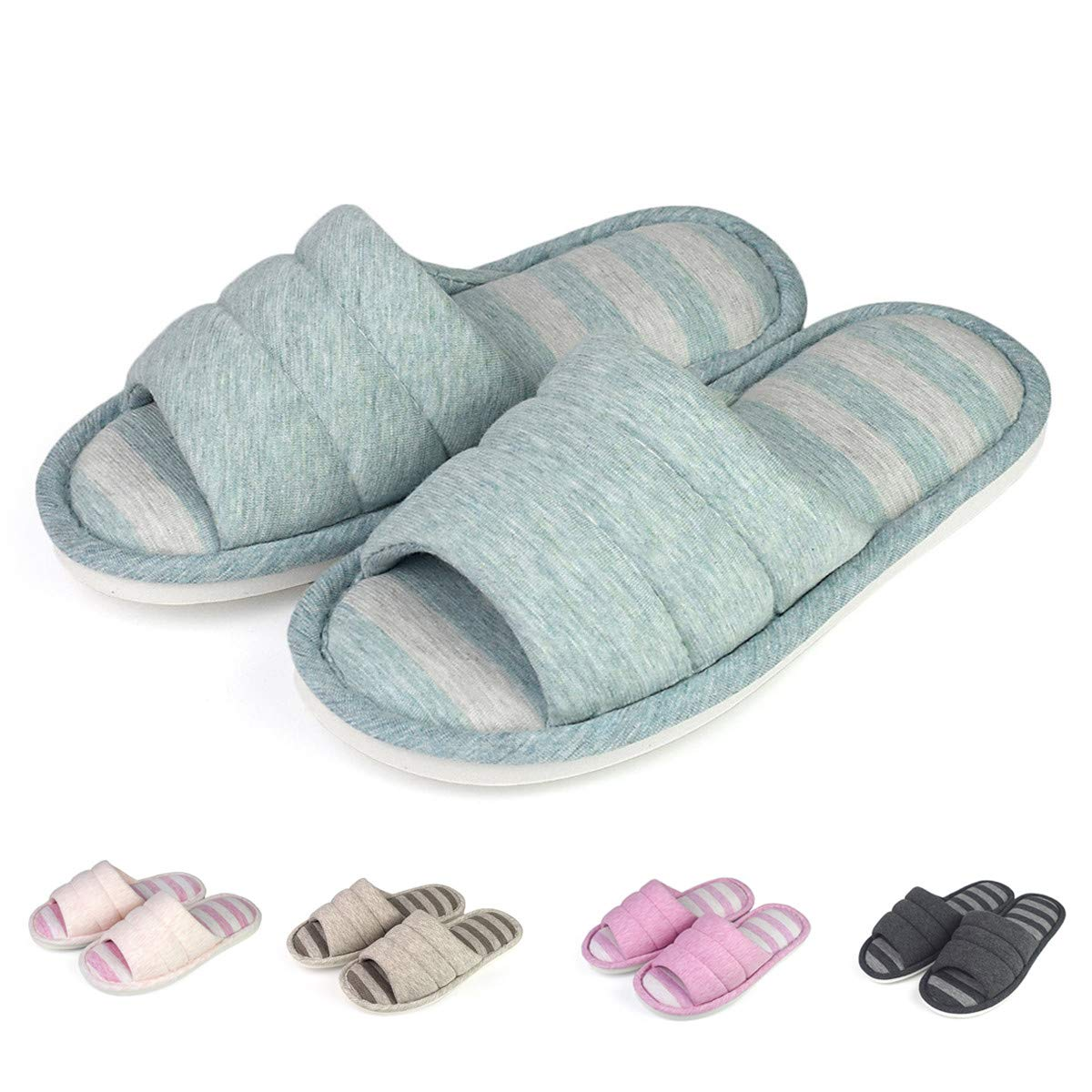 Women Comfort Indoor Slippers Open Toe Cotton Memory Foam Slip On House Slippers(Women 6-7 B(M) / Men 5.5-6.5 D(M),Blue)