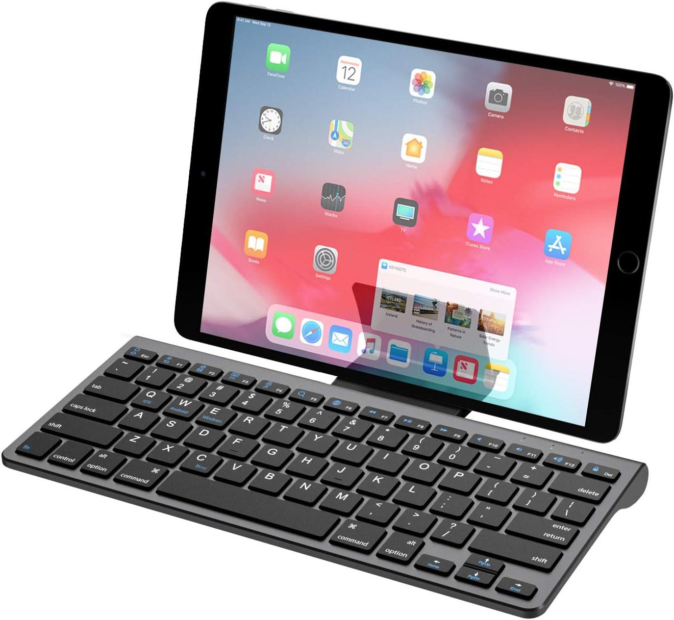 MoKo Teclado de Bluetooth, Ultra-Delgado y Portátil Teclado Inalámbrico con Batería Recargable Compatible para Android, Windows, iOS, Phone, Tableta - Gris