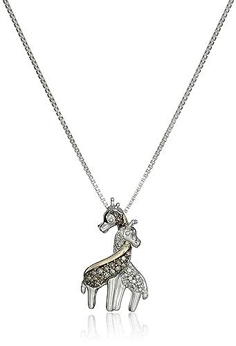 Amazon sterling silver and 14k yellow gold intertwined giraffe sterling silver and 14k yellow gold intertwined giraffe pendant necklace 015cttw i j color aloadofball Choice Image