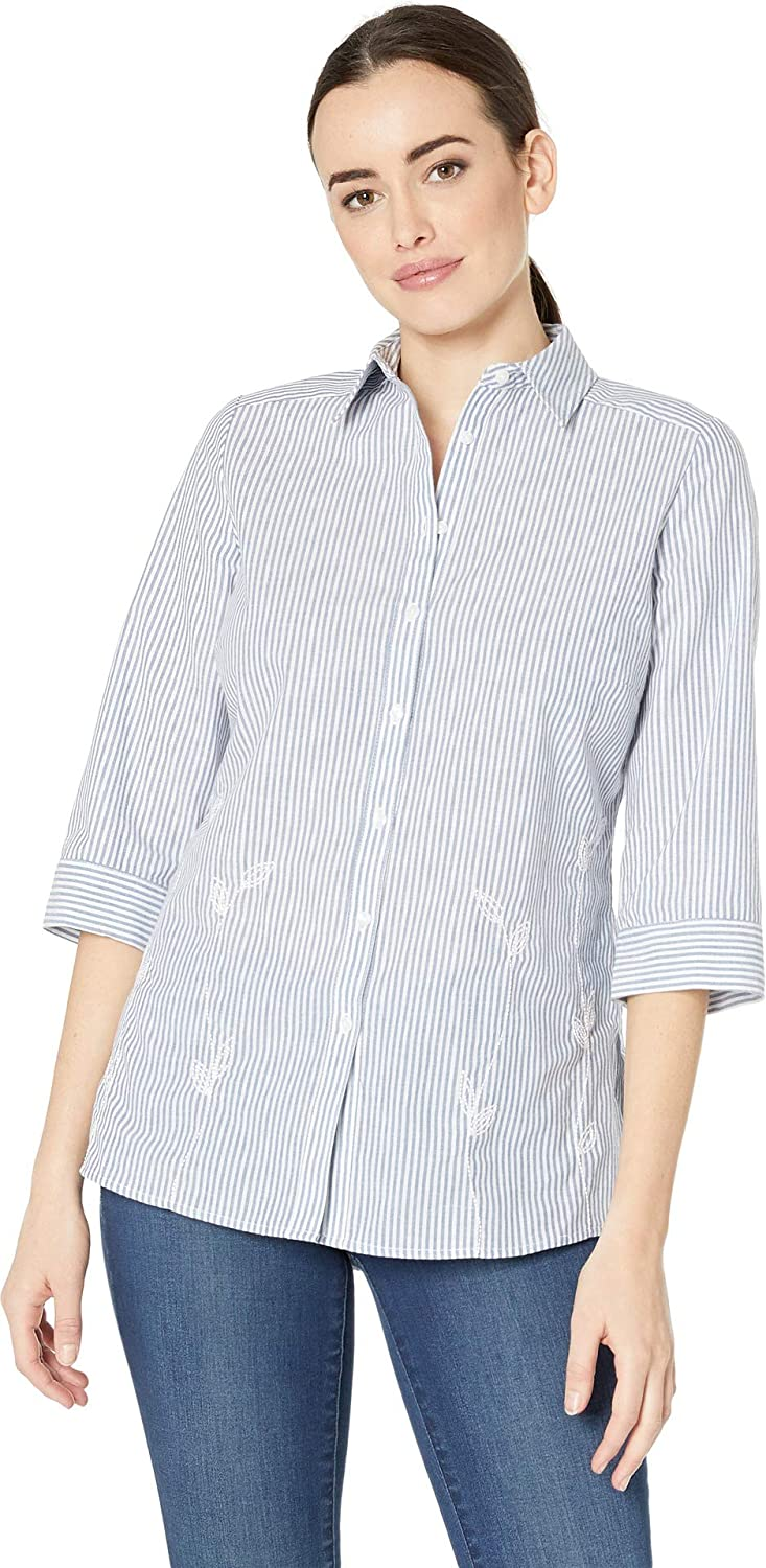 Navy FDJ French Dressing Jeans Women's Striped Blousing Striped Tunic Blouse with 3 4 Sleeves