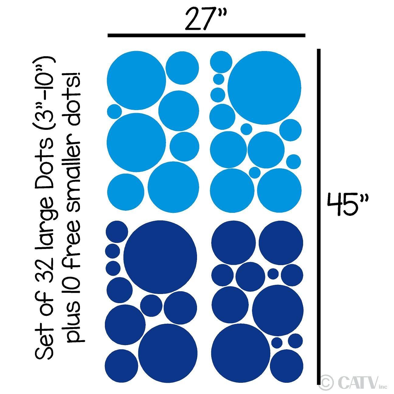 Assorted Vinyl Polka Dots circle wall decals vinyl stickers nursery decor (Blue & Light Blue/set of 32)