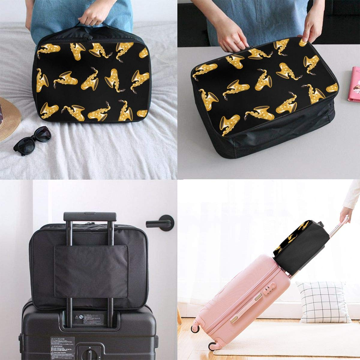 YueLJB Golden Saxophone Pattern Lightweight Large Capacity Portable Luggage Bag Travel Duffel Bag Storage Carry Luggage Duffle Tote Bag