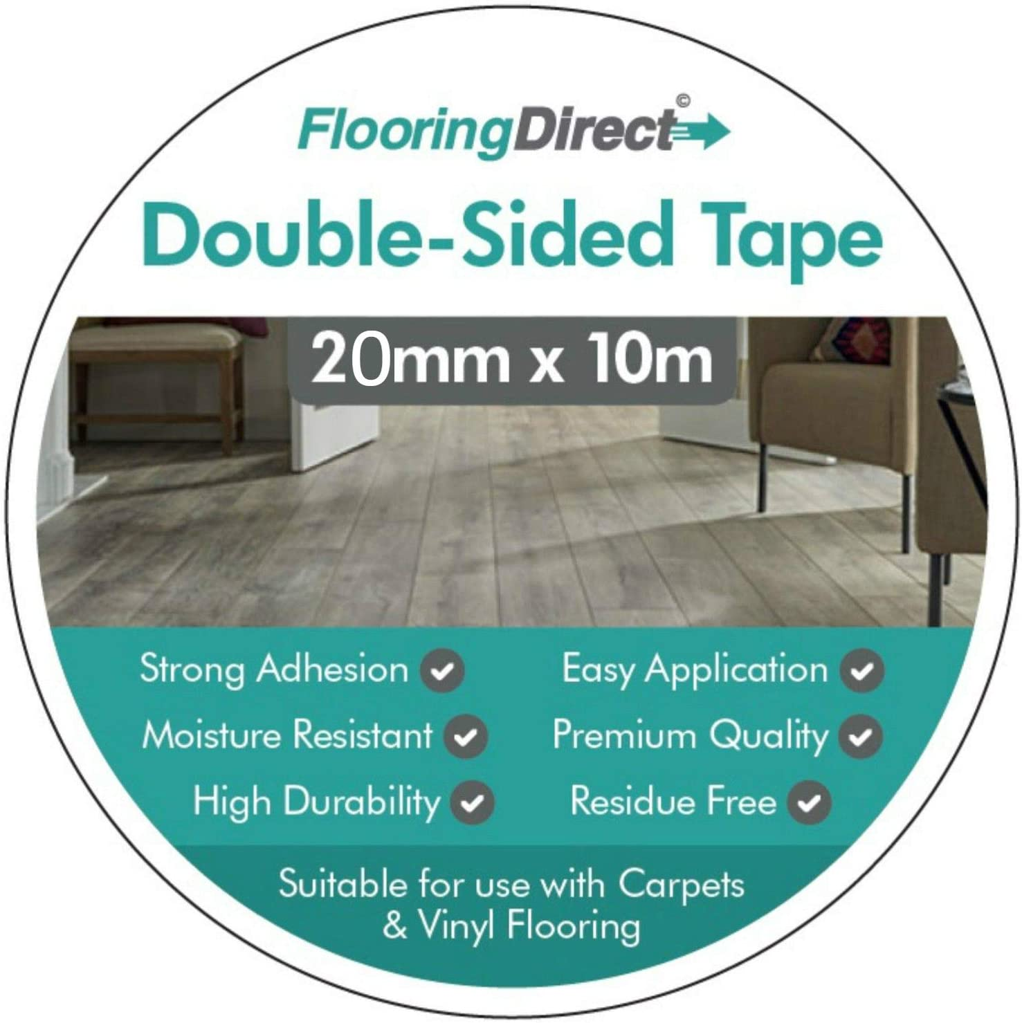 Double Sided Multi Purpose Carpet Tape Suitable for Carpet and Vinyl 20mm x 10m