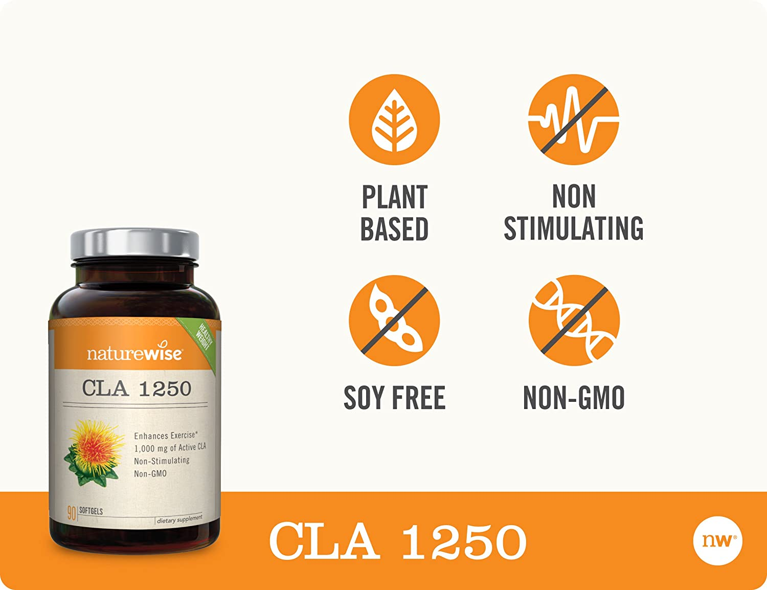 NatureWise CLA 1250, High Potency, Natural Weight Loss Exercise Enhancement | Increase Lean Muscle Mass, Non-Stimulating | Non-GMO, Gluten-Free, & 100% Safflower Oil [1 Month Supply - 90 Count]