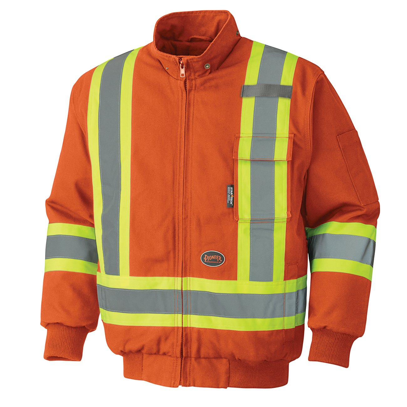 Pioneer V2060450-4XL Heavy-Duty Reflective Winter Safety Bomber Jacket, Orange, 4XL
