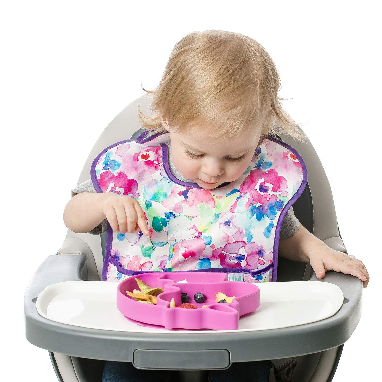 Assiette en silicone pour b/éb/és et enfant convient pour micro-ondes et lave-vaisselle design Licorne sans BPA Plaque ventouse antid/érapante