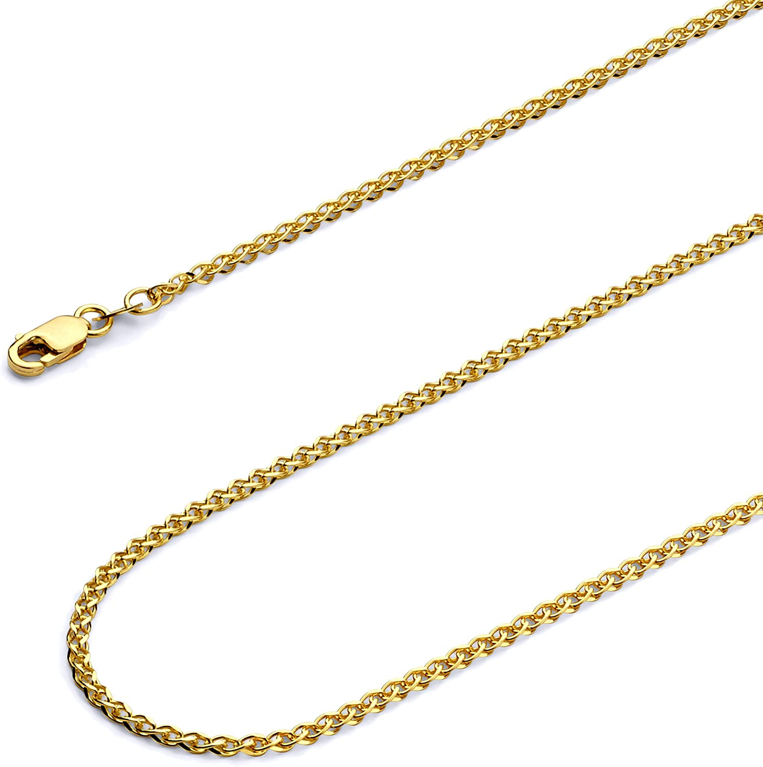 """Wellingsale 14k Yellow Gold Polished Solid 2mm Flat Open Wheat Chain Necklace - 20"""": Jewelry"""