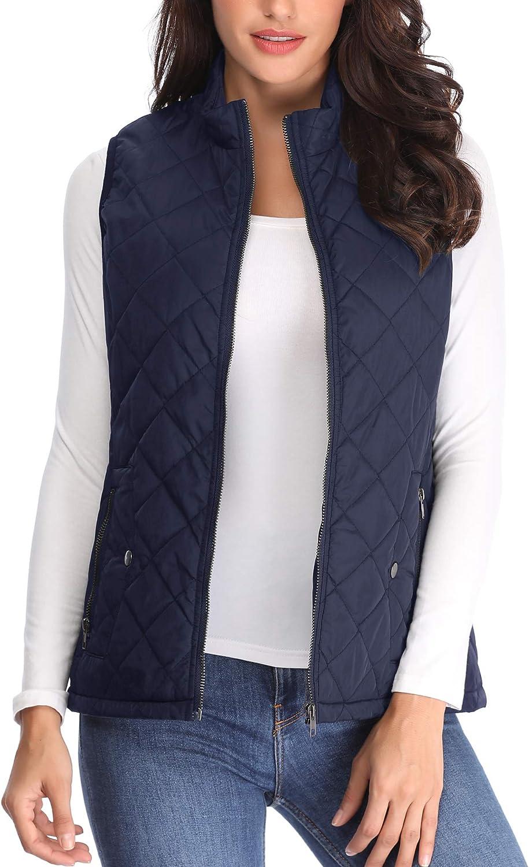 MISS MOLY Damen Weste Steppweste Outdoor Weste mit Stehkragen Rei/ßverschluss Winter Warm Jacke