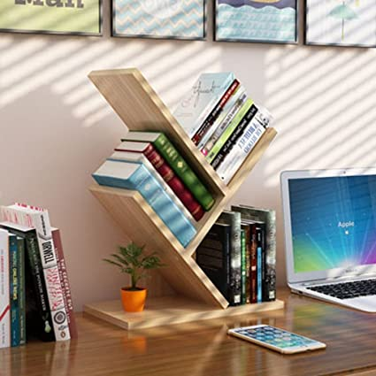HYLR Escritorio de Madera Creativo estanterías pequeñas estantería de Archivo Estante de Libro, Organizador de Escritorio Book Holder Storage ...
