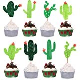 24pcs Cactus Cupcake Toppers Cupcake Picks for Cake Decorations Hawaii Party Favors Tropical Cacti Theme Summer Birthday Party Supplies