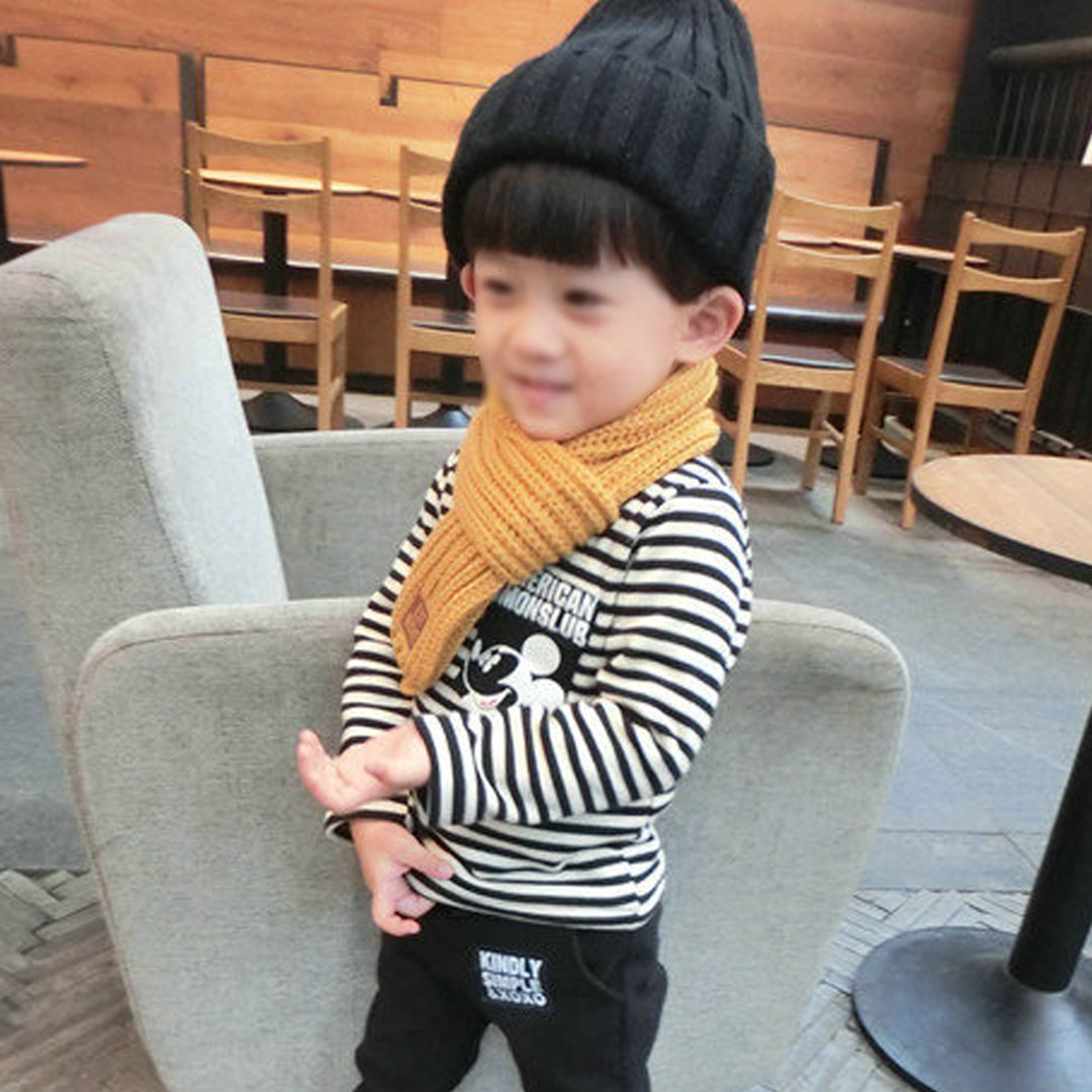 Adela Toddlers Infant Babys Winter Warm Scarf Soft Knitted Scarf Solid Color Wrap Shawl Green
