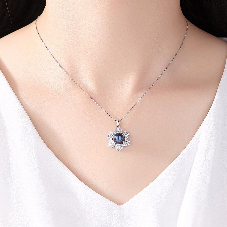 MMC Womens Necklaces Pendants Six Petal Black Silver Jewelry