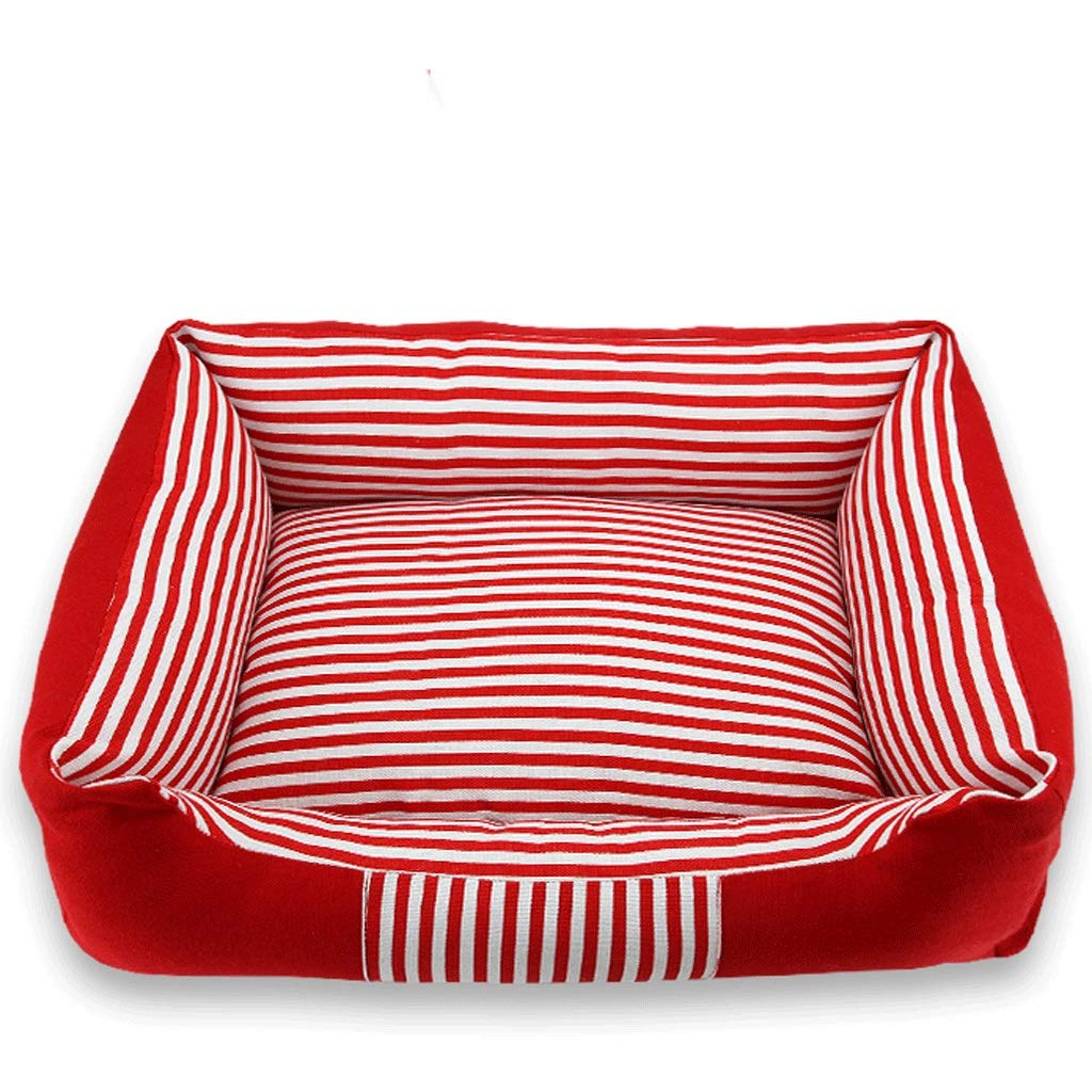 RED M70x52x13cmZcx Medium And Large Dogs General Kennel Stripes Four Seasons Universal Removable Wash Mat Combination Pet Nest (color   Navy+mat, Size   M70x52x13cm)