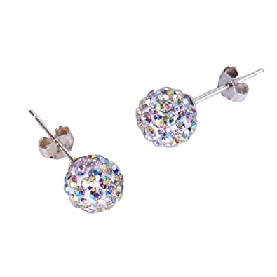ff35e5ab1a2b5 Pave Crystal AB Disco ball Earrings Stud Silver for Women Rainbow ...